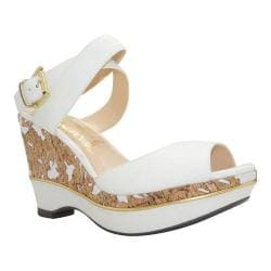 Women's J. Renee Sarila Ankle Strap Wedge Sandal White Kidskin
