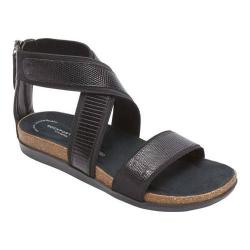 Women's Rockport Romilly Gore Zip Sandal Black Lizard