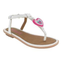 Girls' Bumbums & Baubles Belle T-Strap Thong Sandal White Polyurethane