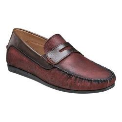 Men's Florsheim Surface Moc Toe Penny Loafer Red Milled Nubuck/Brown Smooth Leather