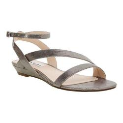 Women's Nina Kelso Strappy Wedge Sandal Gunmetal Metallic Faux Suede