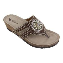 Women's White Mountain Busy Thong Brown Suede/Beading