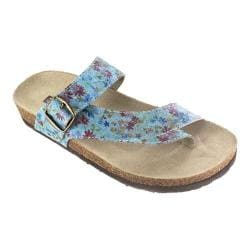 Women's White Mountain Carly Thong Sandal Light Blue Floral Leather