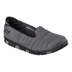 Women's Skechers GO MINI-FLEX Walk Slip On Walking Shoe Black/Gray