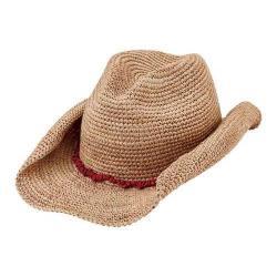 Women's San Diego Hat Company Raffia Cowboy Hat RHC1074 Natural/Coral