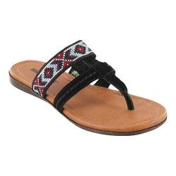 Women's Minnetonka Barbados Thong Sandal Black Suede/Multicolored Elastic
