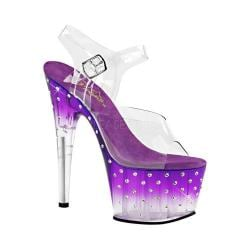Women's Pleaser Stardust 708T Ankle-Strap Sandal Clear PVC/Purple/Clear