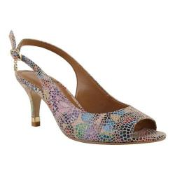 Women's J. Renee Gardenroad Open Toe Slingback Nude Multi Mosaic Butterfly Print Leather