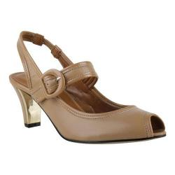 Women's J. Renee Nevern Peep Toe Slingback Nude/Nude Kidskin/Patent Leather