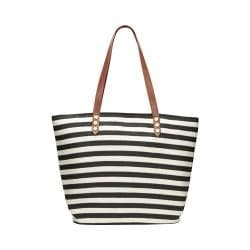 Women's San Diego Hat Company Stripe Tote Bag with PU Trim BSB1350 Black/Ivory Stripe