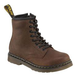 Children's Dr. Martens Delaney 8 Eye Side Zip Boot Dark Brown Burnished Wyoming