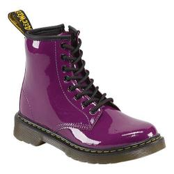Children's Dr. Martens Delaney 8 Eye Side Zip Boot Purple Patent Lamper