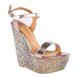Women's Lauren Lorraine Pari Jeweled Ankle Strap Wedge Gold Multi Fabric/Polyurethane