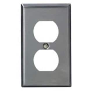 Leviton 003-84003 Single Gang Stainless Steel Duplex Receptacle Plate