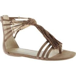 Women's Nine West Emberly Fringe Sandal Taupe Fabric