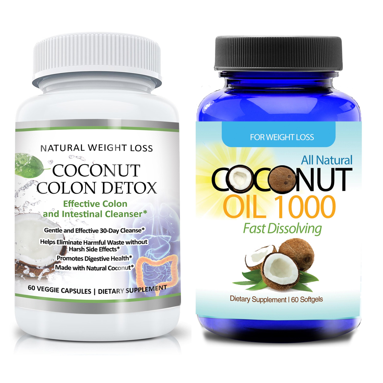 Gentle Coconut Colon Detox Cleanse Supplement and Organic Virgin Coconut Oil 2-piece Set (60 Capsules Each)