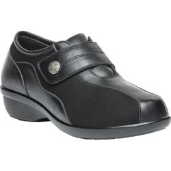 Women's Propet Diana Strap Casual Shoe Black Leather/Stretch Synthetic Suede