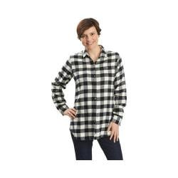 Women's Woolrich Buffalo Check Boyfriend Shirt Wool Cream Buffalo