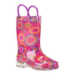Girls' Western Chief Carnival Dots Lighted Rain Boot Pink