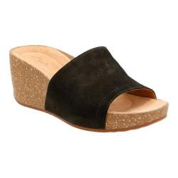 Women's Clarks Temira North Wedge Sandal Black Goat Nubuck