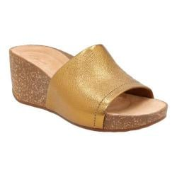 Women's Clarks Temira North Wedge Sandal Gold Metallic Cow Full Grain Leather