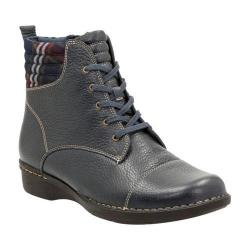Women's Clarks Whistle Bea Ankle Boot Navy Tumbled Cow Full Grain Leather