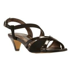 Women's Rose Petals by Walking Cradles Lafayette Strappy Sandal Black Micro/Black Patent