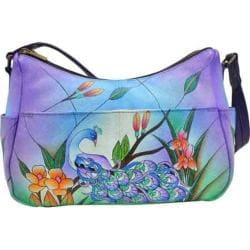 Women's ANNA by Anuschka Hand Painted Leather Twin Top East West Hobo 8193 Midnight Peacock