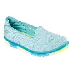 Women's Skechers GO MINI-FLEX Walk Slip On Walking Shoe Turquoise/Lime