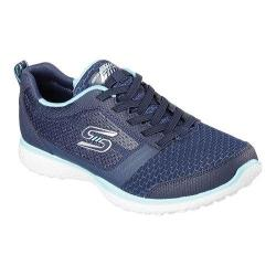 Women's Skechers Microburst Bungee Lace Sneaker Navy/Turquoise