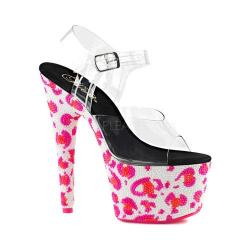 Women's Pleaser Bejeweled 708UVLP Ankle-Strap Sandal Clear PVC/Neon White/Neon Hot Pink