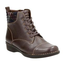 Women's Clarks Whistle Bea Ankle Boot Brown Tumbled Cow Full Grain Leather