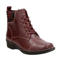 Women's Clarks Whistle Bea Ankle Boot Burgundy Tumbled Cow Full Grain Leather