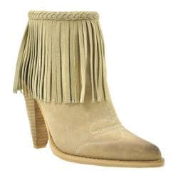 Women's Volatile Shakee Fringed Bootie Beige Faux Suede