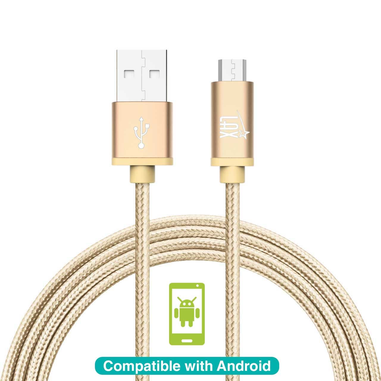 LAX Durable Braided Micro USB Cable for Samsung, LG, HTC Android Phones and Tablets