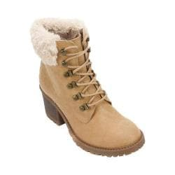 Women's Cliffs by White Mountain Trident Fur Collar Hiker Boot Wheat Distressed PU/Multi Fur