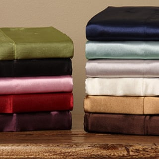 Set of Two Silky 100-percent Satin Standard-size Pillowcases in Sage (As Is Item)