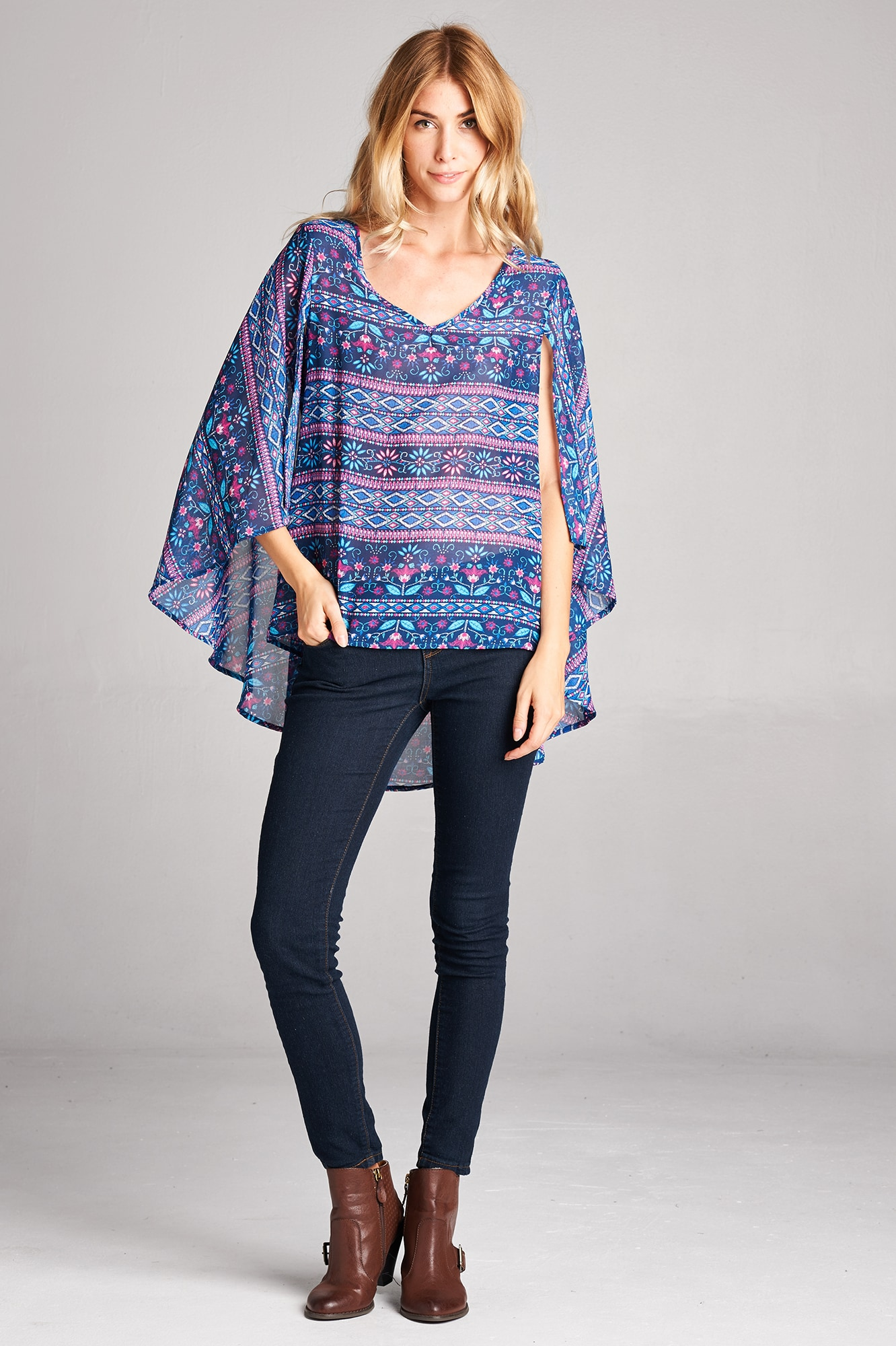 Tea n Rose Tribal-print Butterfly-sleeve Shawl Blouse