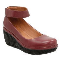 Women's Clarks Clarene Tide Ankle Strap Wedge Shoe Burgundy Cow Full Grain Leather