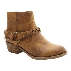 Women's XOXO Glorius Ankle Boot Tan Cracked Suede