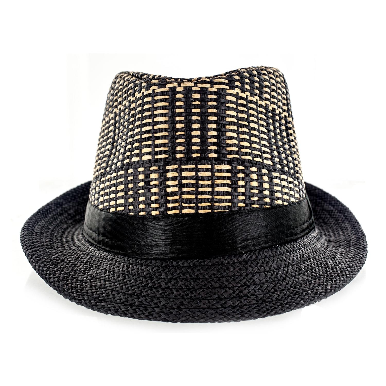 Faddism Fabric Straw Weave Fedora Hat