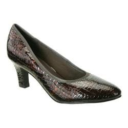 Women's David Tate Peggy Pump Brown Croc Patent