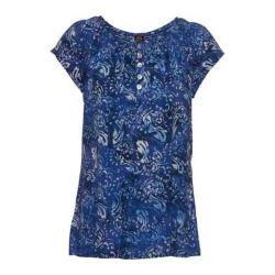 Women's Ojai Clothing Boho Peasant Short Sleeve Top Indigo