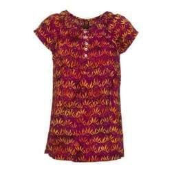 Women's Ojai Clothing Boho Peasant Short Sleeve Top Iris