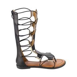 Girls' Wild Diva Katia-5K-FE Gladiator Sandal Black Faux Leather