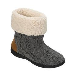 Women's Dearfoams Cable Knit Boot Slipper with Memory Foam Dark Heather Grey