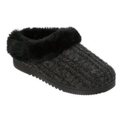 Women's Dearfoams Marled Cable Knit Clog Slipper with Memory Foam Black
