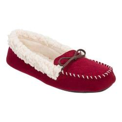 Women's Dearfoams Microsuede Moccasin Bow Slipper with Memory Foam Cabernet