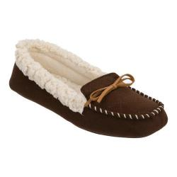 Women's Dearfoams Microsuede Moccasin Bow Slipper with Memory Foam Espresso