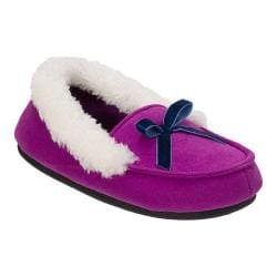 Girls' Dearfoams Microsuede Moccasin Slipper Purple Passion